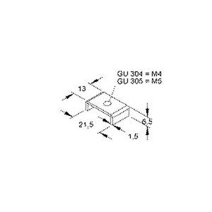 GU 304, U-Gleitmutter ohne Zylinderkopfschraube, Gewinde M4, H=6,5 mm, B=13 mm, Stahl, galvanisch verzinkt DIN EN ISO 2081/4042,