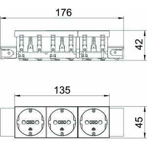 STD-D0C MZGN3, Steckdose 0°, 3-fach Schutzkontakt, Connect 45 250V, 10/16A, PC, minzgrün, RAL 6029