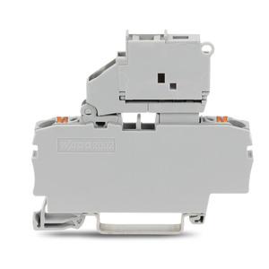 2202-1611, 2-Leiter-Sicherungsklemme mit schwenkbarem Sicherungshalter für G-Sicherungseinsatz 5 x 20 mm Drücker 2,5 mm² grau