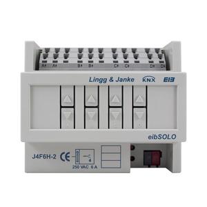 J4F6H-2, 6A, KNX standard Jalousie-/Rollladenaktor 4-fach, Handbedienung ohne Busspg., 6 TE; Schaltleistung 6A 250 VAC