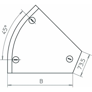 DFB 45 300 DD, Deckel Bogen 45° mit Drehriegeln, für RB 45 300 B300mm, St, DD