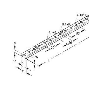 2761/2, Profilschiene,C-Profil SW 11 mm, 8x20x2000 mm, Abbrechlochung, Stahl, bandverzinkt DIN EN 10346