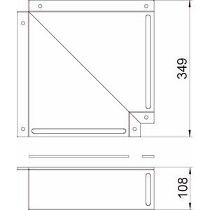 BSKM-FW 1025RW, Flachwinkel für Wand- und Deckenmontage 100x250, St, L, reinweiß, RAL 9010