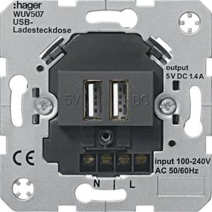 USB-Ladesteckdose 2-fach, anthrazit