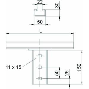 KI8 CPS5-1-300FT, Kopfplatte für IS 8-Stiel 300mm, St, FT