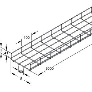 GR 60.100 E3, Gitterrinne, U-förmig, 60x100x3000 mm, Draht-Ø 3,5 mm, Edelstahl, Werkstoff-Nr.: 1.4301, 1.4303
