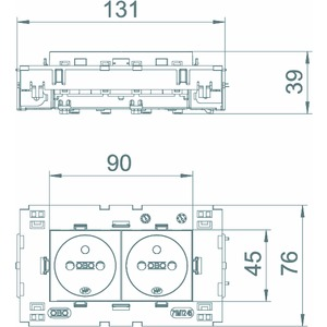 STD-F0C8 SRO2, Steckdose 0°, 2-fach mit Erdungsstift, Connect 80 250V, 10/16A, PC, signalrot, RAL 3001