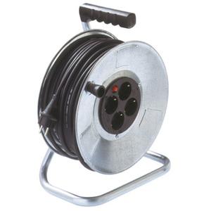 HERO450SS, Stahlblech-Kabeltrommel, 50 m Gummil. HO5RR-F3G1.5 mm², 4-fach, ohne Deckel