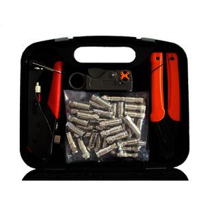 FKK#49-Set, F-Stecker-Kompressions-Kit enthält Crimpzange, Abisol., Kabelschere und 50 F-Stecker F-KPS 49 für AC 100