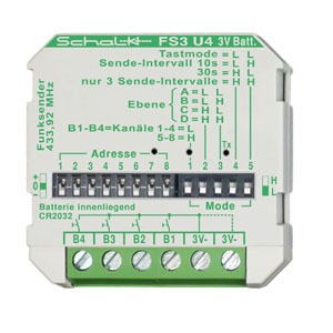 FS3 U4 (3V DC), Funk-Sender 4-Kanal 3V DC (UP), inkl. Batterie