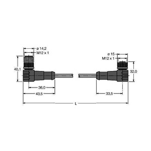 WSSW-WKSW451-1M, PROFIBUS-Leitung, PUR-Kabelmantel