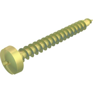 4758 3.5x30, Golden-Sprint-Schraube Panhead, Antrieb +/- Schlitz 3,5x30mm, St, GGP