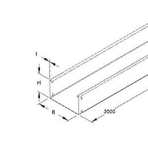 RLU 110.400 E3, Kabelrinne, 110x400x3000 mm, t=0,9 mm, ungelocht, Edelstahl, Werkstoff-Nr.: 1.4301, 1.4303, inkl. Zubehör