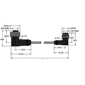 WKM52-2-WSM52, PUR-Kabelmantel, 5-polig