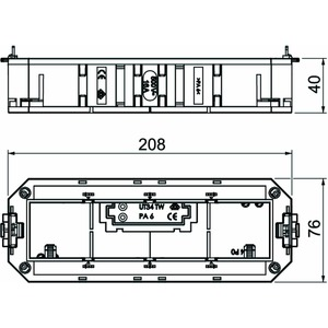 UT4 45 4, Universalträger für 4 Modul45-Geräte 208x76x40, PA, graphitschwarz, RAL 9011