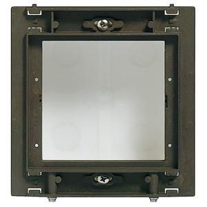 Modulträger für 1 Modul, Montage nur senkrecht,Alu-Guß Modulträger: 139 x 144 mm;  UP-Kasten: 117 x 123 x 45 mm