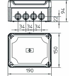 T 160 HD TR, Kabelabzweigkasten mit hohem transparentem Deckel 190x150x94, PP/PC, lichtgrau, RAL 7035