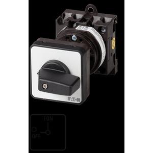 T0-2-15679/Z, EIN-AUS-Schalter, T0, 20 A, Zwischenbau, 2 Baueinheit(en), 3-polig, 1 Schließer, mit schwarzem Knebel und Frontschild
