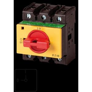 P3-63/IVS-RT, EIN-AUS-Schalter, P3, 63 A, Verteilereinbau, 3-polig, NOT-AUS-Funktion, mit rotem Knebel und gelbem Frontschild, abschließbar in 0-Stellung