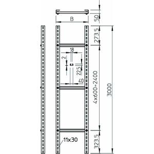 SLM 50 C40 3 FT, Steigeleiter schwer mit C 40 Sprosse 300x3000, St, FT