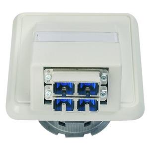 LWL-Anschlussdose OAD/S mit 2xST/SC Duplex, montiert alpinweiß