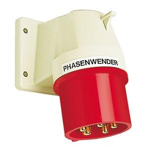 Phasenwender Anbaugerätestecker schräg 16A 5P 6h mit angeschraubtem Flanschgehäuse 66x80mm-611 PH