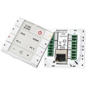 Leistungsstarke Mediensteuerung für Schalterrahmen und mobile Endgeräte. Steuern Sie Ihr AV System mit einem fest eingebautem Bedienfeld mit acht frei