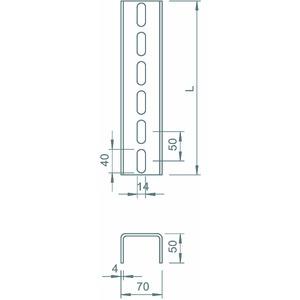 US 7 200 FT, U-Stiel 3-seitig gelocht 70x50x2000, 6340296