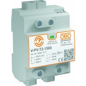 V-PV-T2-1500, SurgeController V-PV Y-Schaltung für PV-Anlagen 1500V DC, grau