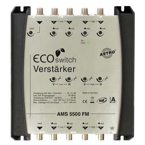 AMS 5500 FM, SAT-ZF Verstärker ferngespeist, 4 Eingänge für eine Satellitenposition, einen Eingang für FM-Signale, Betrieb mit vorgeschaltetem Systembasisgerät ode