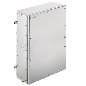KTB MH 765020 S4E3, Ex-Metallgehäuse, 508 x 762 x 200 mm, elektropoliert, Flanschplatte: Ja, unten, links, rechts, 4 Scharniere und M6 Sechkantschlitzschrauben SW10