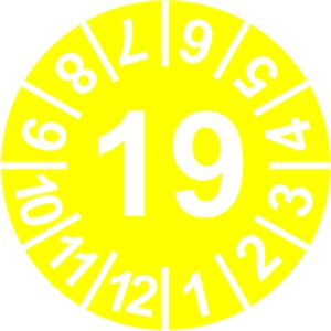 INP-C-19, Prüfplakette 19, gelb (15mm) VPE: 10 Karton, 1 Karte = 10 Symbole