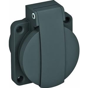ASD-D0 SW, Anbausteckdose 0°, 1fach Schutzkontakt, mit Klappdeckel 50x61mm, schwarz