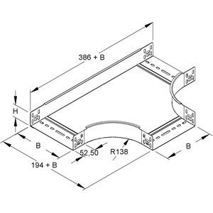 RTS 60.400, T-Stück für KR, 60x402 mm, mit ungelochten Seitenholmen, Stahl, bandverzinkt DIN EN 10346, inkl. Zubehör