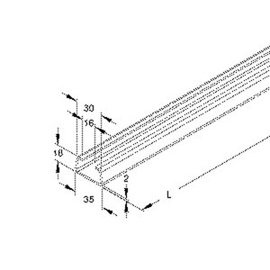 2980/2 FO, Ankerschiene, C-Profil, Schlitzweite 16 mm, 35x18x2000 mm, ungelocht, Stahl, feuerverzinkt DIN EN ISO 1461
