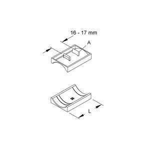 GW 18, Gegenwanne Hammerfuß-Bügelschelle, Kabel-Ø 14-18 mm, Schlitzw. 16-17mm, Kunststoff, Polyethylen