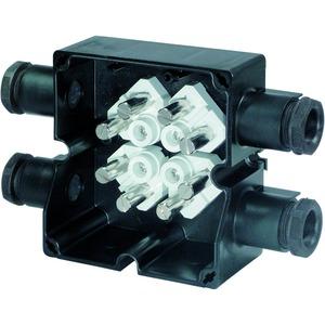 GHG 791 0201 R0006, Ex-e Abzweigdose GHG 791 02, 4 x M25 Leitungseinführung, Polyamid, angeformt6 x 4 mm² + 2x4 mm² PE, Mantelkemmen, Geh. Material: Polyamid