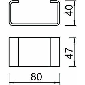 DSK 47 FT, Distanzstück für Kopfplatte KU 5 V 80x47x40, St, FT