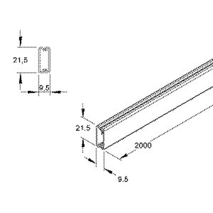 HKL1022.1, HKL-Elektroinstallationskanal 9,5x21,5x2000 mm, Kunststoff PVC-hart, RAL 7030, steingrau