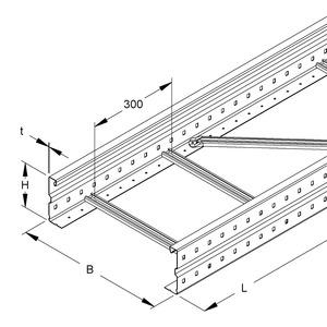 WSL 150.400 F, Weitspannkabelleiter, 150x400x6000 mm, t=1,5 mm, gelocht, Stahl, feuerverzinkt DIN EN ISO 1461