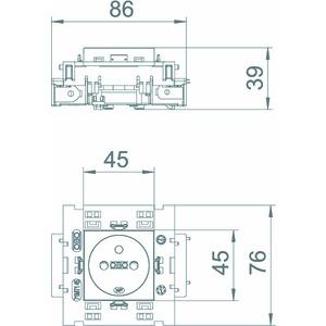 STD-F0C8 ROR1, Steckdose 0°, 1-fach mit Erdungsstift, Connect 80 250V, 10/16A, PC, reinorange, RAL 2004