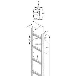STM 60.603/3, Steigetrasse, 60x600x3000 mm, Sprossenabstand 300 mm, 1,75 kN, t=2 mm, Stahl, bandverzinkt DIN EN 10346