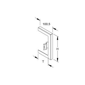 GWB 220T80 R, GK-Wandabschlussblende, einzügig, 261x80 mm, Stahl, bandverzinkt DIN EN 10346, pulverbesch., RAL 9010, reinweiß