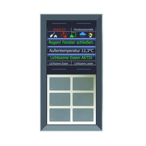 """LCN - GTS10DB, GT rahmenlos, schwarz, mit 6+4 Tasten, 6 LEDs+2,8""""Farbdisplay, integr. TS"""