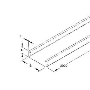 RLU 60.300 F, Kabelrinne, 60x300x3000 mm, t=1,0 mm, ungelocht, Stahl, feuerverzinkt DIN EN ISO 1461, inkl. Zubehör