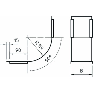 DBV 100 S FS, Deckel für Vertikalbogen 90° steigend B100mm, St, FS