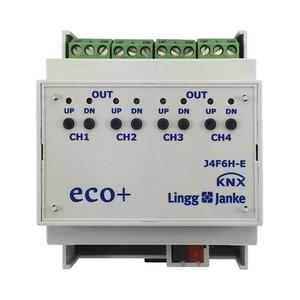 KNX eco+ Jalousie-/Rollladenaktor 4-fach, Handbedienung, 4 TE; Schaltleistung 6A 250 VAC