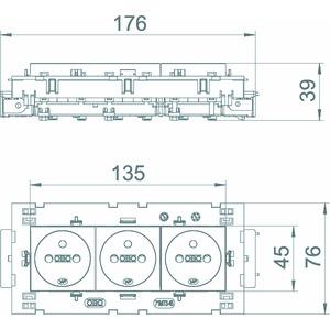 STD-F0C8 SWGR3, Steckdose 0°, 3-fach mit Erdungsstift, Connect 80 250V, 10/16A, PC, schwarzgrau, RAL 7021