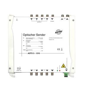 AOTX 5 1330, Optischer Sender, 5 mW Ausgangsleistung, Wellenlänge 1310 nm, elektrische Eingänge für Direktanschluss eines Standard-LNB, mit LNB-Versorgung 14 V 200