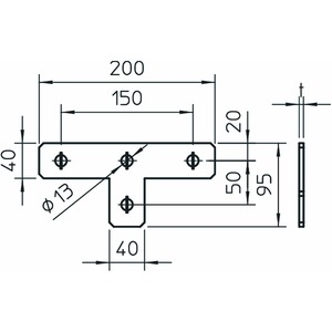 GMS 4 VP T A4, Verbindungsplatte T-Form 200x95x40x4, V4A, A4